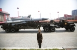 Skud missiles are paraded across Kim Il Sung Square during a military parade in Pyongyang, North Korea. (AP Photo/Wong Maye-E)
