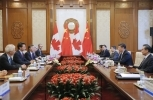 China's President Xi Jinping, second right,  and Canada's Prime Minister Justin Trudeau, second left, hold their meeting at the Diaoyutai State Guesthouse in Beijing, China, Wednesday, Aug. 31, 2016. Trudeau is on an official visit to China and is expected to meet with Chinese counterparts to boost bilateral ties. (Wu Hong/Pool Photo via AP)