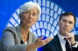 IMF Managing Director Christine Lagarde accompanied by Canada Finance Minister William Morneau at the 2017 IMF Annual Meetings. ( AP Photo/Jose Luis Magana)
