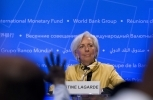 International Monetary Fund (IMF) Managing Director Christine Lagarde speaks at the World Bank/IMF Spring Meetings, in Washington. ( AP Photo/Jose Luis Magana)