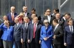Global leaders pose for a family picture ahead of the opening ceremony of the NATO summit in Brussels on July 11, 2018. (Ludovic Marin, Pool via AP)