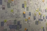 "In this Aug. 15, 2018 photo, post-it notes cover a wall labeled ""feedback"" during a forum hosted by Google affiliate Sidewalk Labs in Toronto. (AP Photo/Rob Gillies)"