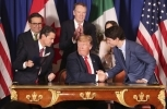 Leaders shake hands after signing the Canada-United States-Mexico Agreement on Friday, Nov. 30, 2018. (AP Photo/Martin Mejia)