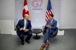 Canadian Prime Minister Justin Trudeau and US President Donald Trump during a bilateral meeting at the G7 summit in Biarritz, France on August 25, 2019. (AP Photo/Andrew Harnik)