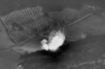 Airstrike against an ISIS ammunition depot near Talbiseh settlement (Homs). The object is completely destroyed. (Russian Defense Ministry Press Service via AP)