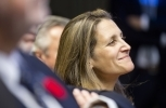 Canadian Foreign Affairs Minister Chrystia Freeland said the WTO filing was a necessary response to the 2017 softwood lumber dispute. (AP Photo/Thierry Monasse)