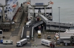 Lorries disembark from a ferry at the Port of Dover. (AP Photo/Matt Dunham)