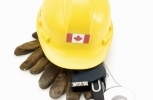 hard hat with Canadian flag