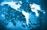 Stock image of a global network overlay