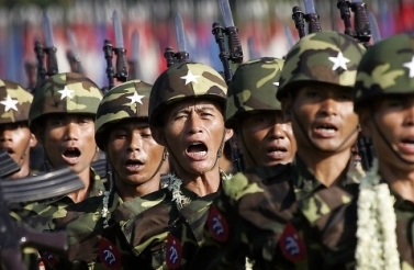 Myanmar soldiers march during Armed Forces day. (AP Photo/David Longstreath, File)