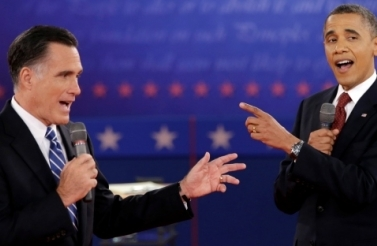 President Barack Obama and Republican presidential candidate, former Massachusetts Gov. Mitt Romney exchange views during the second presidential debate (AP Photo/David Goldman, File).