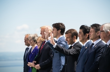 Group of Seven leaders pose for the annual family photo at this year's G7 summit in Charlevoix. (Global Affairs Canada).