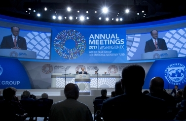 World Bank President Jim Yong Kim speaks at the opening annual meetings plenary during the World Bank/IMF Annual Meetings in Washington, October 13, 2017. ( AP Photo/Jose Luis Magana)