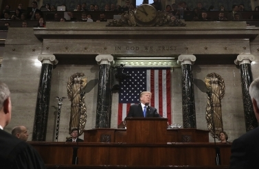 President Trump delivers his first State of the Union address. (Win McNamee/AP Photo)