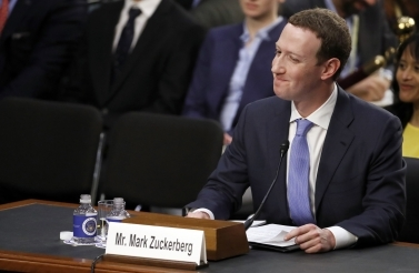 Facebook CEO Mark Zuckerberg testifies before a joint hearing of the Commerce and Judiciary Committees on Capitol Hill in Washington on April 10, 2018. (AP Photo/Alex Brandon)