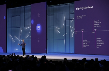 Facebook CEO Mark Zuckerberg makes the keynote address at F8, Facebook's developer conference on May 1, 2018. (AP Photo/Marcio Jose Sanchez)