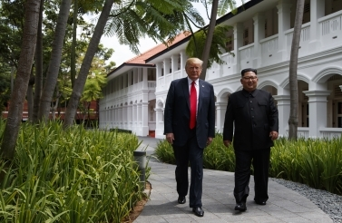 President Donald Trump meets with North Korean leader Kim Jong Un on Sentosa Island on June 12, 2018, in Singapore. (AP Photo/Evan Vucci)