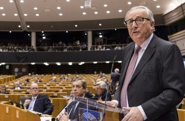 EU Commission President Jean Claude Juncker addresses Members of European Parliament on Brexit at the European Parliament in Brussels on January 30, 2019. (AP Photo/Geert Vanden Wijngaert)
