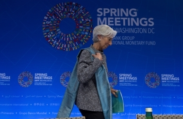 IMF Managing Director Christine Lagarde leaves after a news conference at the World Bank/IMF Spring Meetings in Washington on April 13, 2019. (AP Photo/Jose Luis Magana)