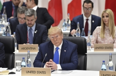 US President Donald Trump attends a session on women's workforce participation, future of work and aging societies at the G20 Summit in Osaka Saturday, June 29, 2019 (Kazuhiro Nogi/Pool Photo via AP)