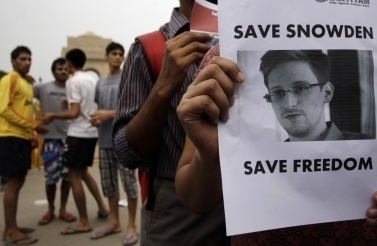 Indian protestors show support for Edward Snowden (The Associated Press)