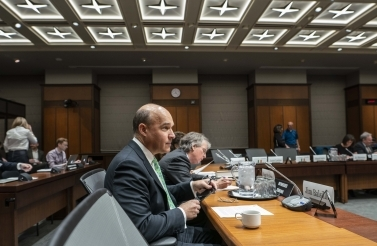 CIGI Founder and Chair Jim Balsillie prepares to speak at the second meeting of the International Grand Committee in Ottawa. (CIGI Photo)