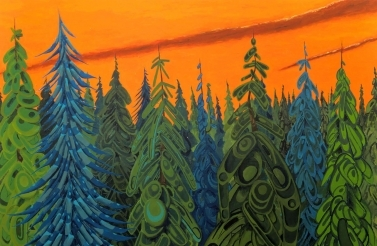 Indigenous painting of a forest against an orange sky