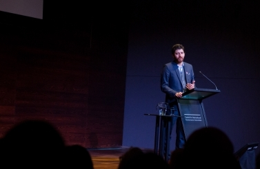Tareq Hadhad delivers the keynote address at the Global Youth Forum (CIGI/Brent Tremain)