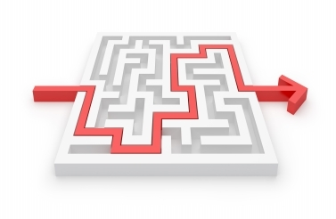 maze with red arrow going through it