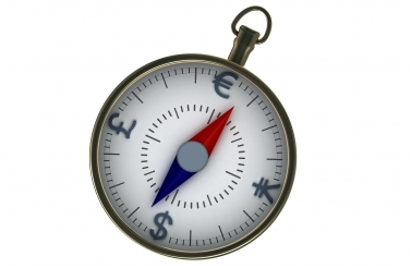 compass with currency