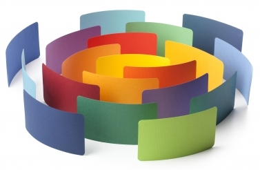 Paper colour samples arranged in a circle