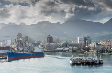 The harbour in Port Louis, Mauritius