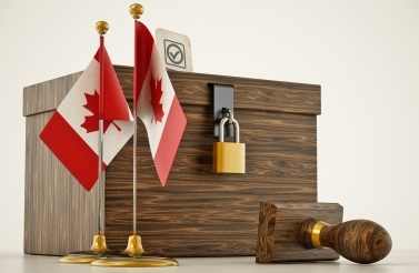 locked ballot box with Canadian flags