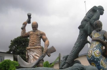 A scene from the Sierra Leone Peace and Cultural Monument in Freetown (Michael Lawrence).